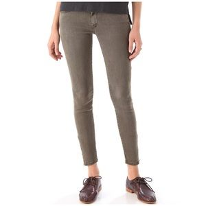 Mother The Looker Ankle Zip Skinny Jeans Green 24